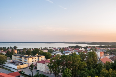 Panorama of Gizcyko with Niegocin Lake in the Masurian Lakes district of northern Poland Stock Photo - 24758807