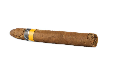 rich flavor: Cuban cigar isolated on white  Stock Photo