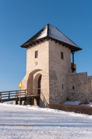 bobolice: Entrance tower of Bobolice Castle in winter, Silesian Voivodeship, Poland