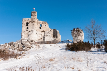 Ruins of Mirow castle in winter, Poland