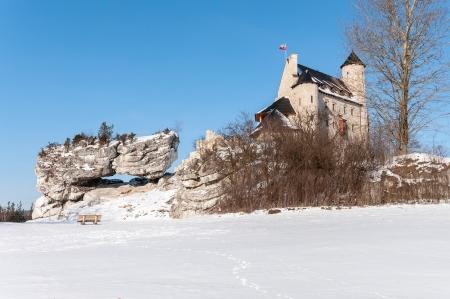 bobolice: The Bobolice Castle in winter, Silesian Voivodeship, Poland Editorial