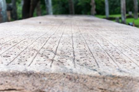 Stone Book Gal Pota in ancient city of Polonnaruwa, Sri Lanka Shallow depth of field Reklamní fotografie