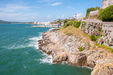 Coastline in Plymouth in a sunny day, Great Britain