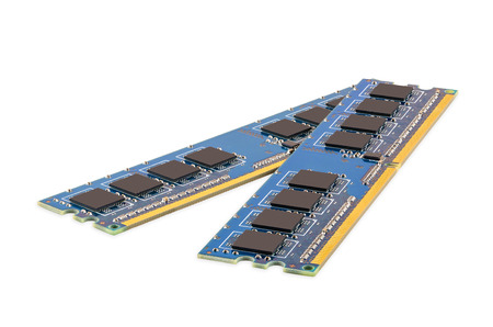 Pair of computer DDR memory modules isolated on white background with clipping path