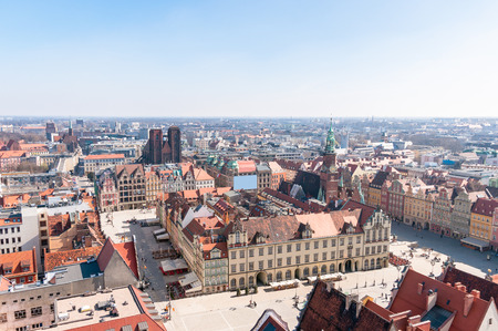 Medieval market square in Wroclaw  View from St  Elisabeth Church tower photo
