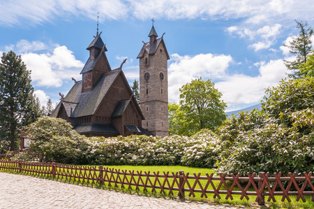 Old, wooden, Norwegian temple Wang in Karpacz, Poland photo