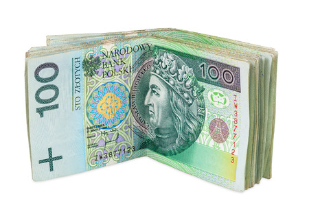 Polish banknotes of 100 PLN (polish zloty) isolated on white background with clipping path Stok Fotoğraf
