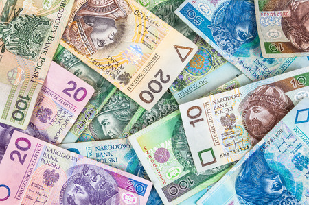 Background made of polish banknotes (polish zloty) photo
