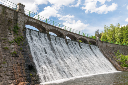 tailings: Dam on the Lomnica River in Karpacz, Poland Stock Photo