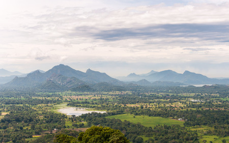 Mountain landscape of Sri Lanka  View from Sigiriya Rock Temple  photo