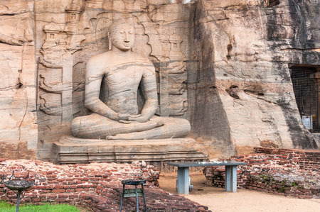 samadhi: Samadhi Buddha statue carved in Granite at Gal Vihara in Pollonaruwa, Sri Lanka