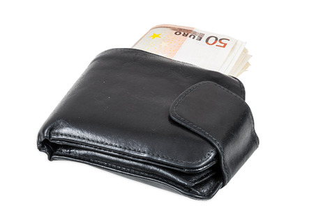 Euro banknotes in black wallet isolated on white background with clipping path photo