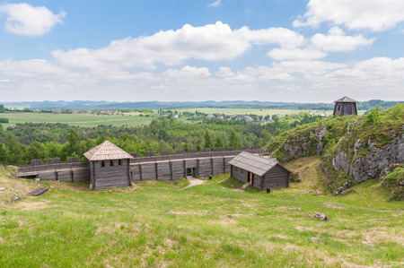 ogrodzieniec: Old settlement on Birow mountain near Ogrodzieniec in Poland Stock Photo