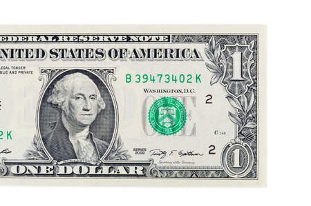 one dollar bill: Part of one dollar banknote isolated on white background with clipping path