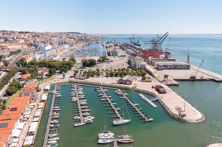 tagus: Port and marina on Tagus River in Lisbon, Portugal Stock Photo