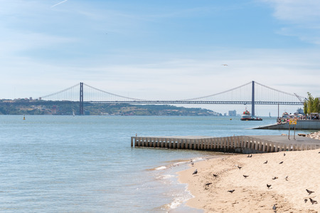 tagus: Suspension Bridge over the Tagus River in Lisbon, Portugal