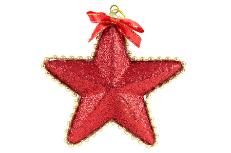 star path: Star shaped christmas bauble isolated on white background with clipping path Stock Photo