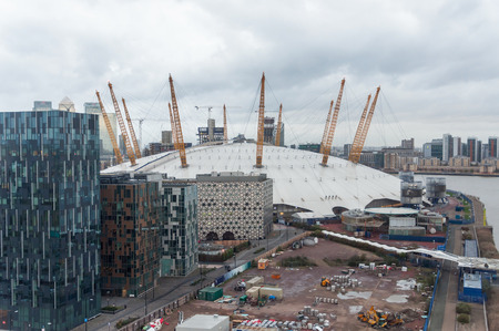 LONDON, UNITED KINGDOM - NOVEMBER 8, 2014: The O2 Arena in London, formerly known as the Millennium Dome on a rainy day.