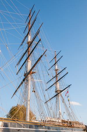 Masts of ship docked at Greenwich in London