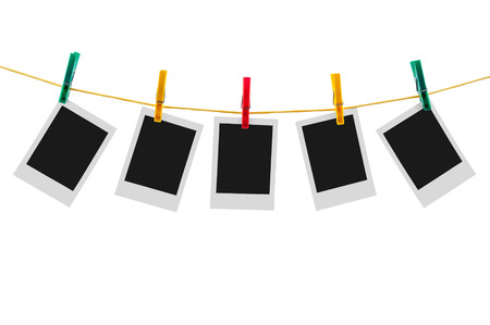 Five blank instant photos on clothesline isolated on white background