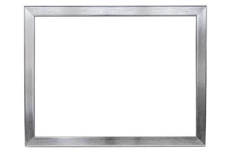 Aluminium empty photo frame isolated on white background  Stok Fotoğraf