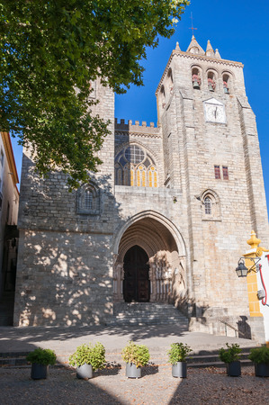 glasswork: The Cathedral of Evora - one of the oldest and most important monuments in the city of Evora, in Portugal Stock Photo
