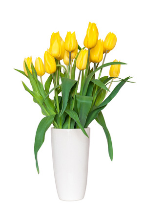 tulips isolated on white background: Bouquet of yellow tulips in a vase isolated on white background  Stock Photo