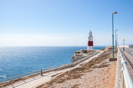 europa: Europa Point Lighthouse on a shore of Gibraltar