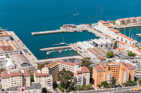 straits: Aerial view over the port city and straits of Gibraltar