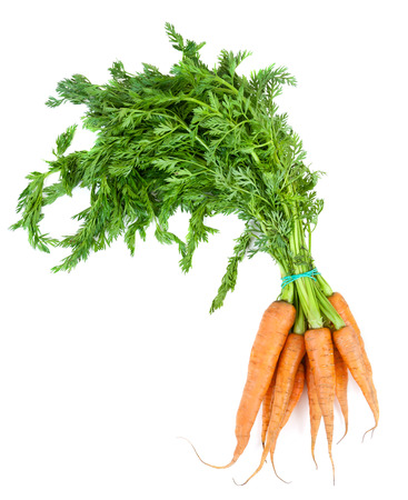 Bunch of carrots with leaves on white background Stok Fotoğraf