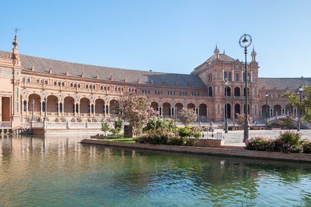 spanish architecture: South wing of the Plaza de Espana building in Seville. It is a landmark example of the Renaissance Revival style in Spanish architecture. Editorial