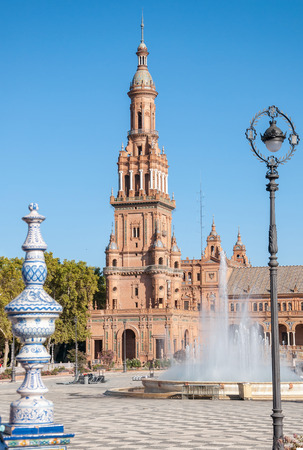 spanish architecture: Tower of the Plaza de Espana in Seville in Spain.  It is a landmark example of the Renaissance Revival style in Spanish architecture.