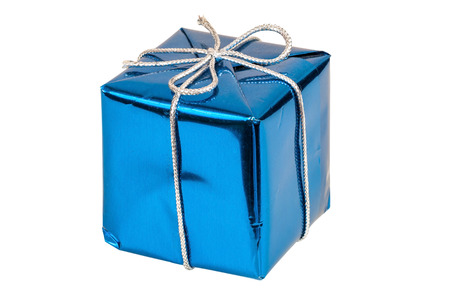 Blue gift box with silver ribbon isolated on white background with clipping path