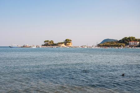 cameo: Cameo Island and Agios Sostis port on Zakynthos, Greece Stock Photo