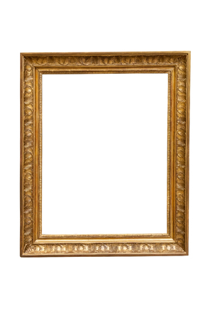 gold picture frame: Rectangle decorative picture frame isolated on white background with clipping path Stock Photo