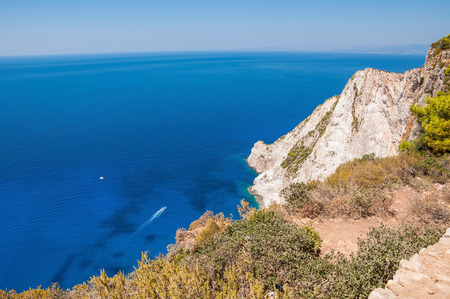 zakynthos: Beautiful cliff coast of Zakynthos Island seen from the top Stock Photo