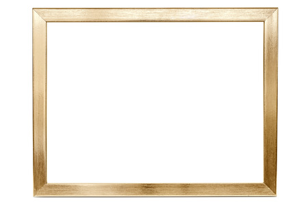 Golden aluminum empty photo frame isolated on white background with clipping path
