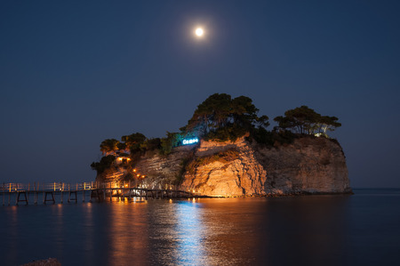 Cameo Island at night- the most popular Zante wedding locations in the Greek islands