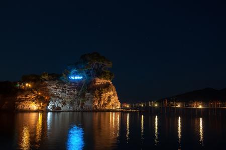 greek islands: Cameo Island at night- the most popular Zante wedding locations in the Greek islands