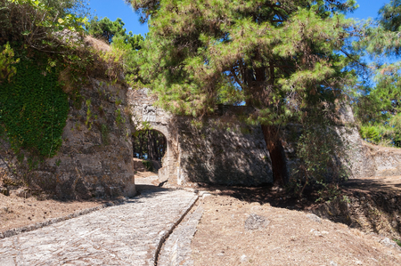empedrado: Paved path to the Venetian Bohali Castle in Zakynthos city, Greece