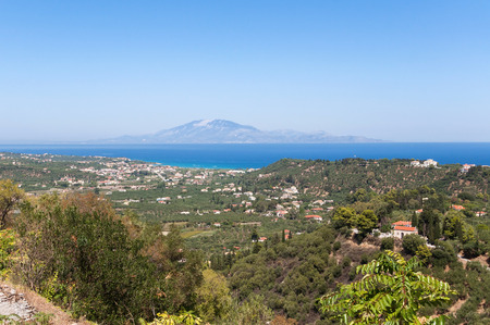 View of Tsilivi on Zakynthos with Kefalonia in the background, Greece