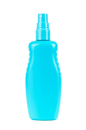 atomizer: Blank blue cosmetic bottle with atomizer isolated on white background with clipping path