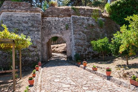 Paved path to the Venetian Bohali Castle in Zakynthos city, Greece