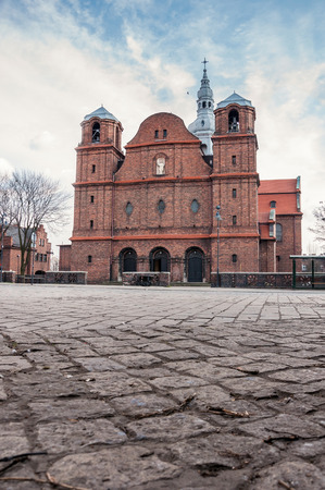 miners: Church of St. Anne in Nikiszowiec district - historic coal miners settlement in Katowice, Poland Stock Photo