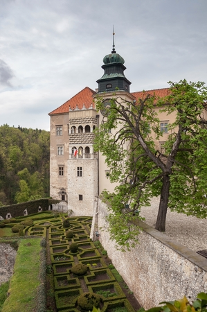 skala: Pieskowa Skala, Poland - May 1, 2011: View of renaissance castle in Pieskowa Skala on a cloudy day.