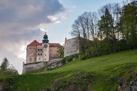 skala: View of renaissance castle in Pieskowa Skala on a cloudy day, Poland Editorial