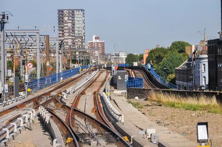 docklands: The railway tracks of Docklands Light Railway in London, UK