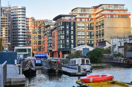 inland waterways: Modern apartments at Paddington Basin in London, United Kingdom