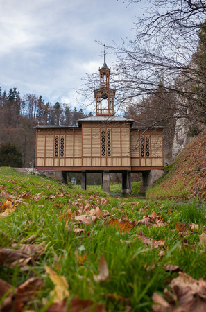 st  joseph: Old wooden Chapel of St. Joseph the Craftsman known as the Chapel on Water in Ojcow National Park in Poland