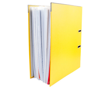 dossier: Yellow office folder full of papers isolated on white background